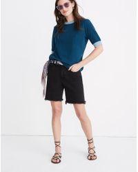 Madewell High-rise Mid-length Denim Shorts In Lunar Wash - Blue