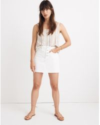 f8f48b93d Madewell - Rigid Denim A-line Mini Skirt In Tile White: Button-front