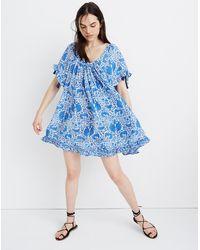 MW Natalie Martin Silk Marina Mini Dress In Wing Print - Blue