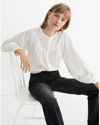 Madewell Balloon-sleeve Peasant Top In Clipdot - White
