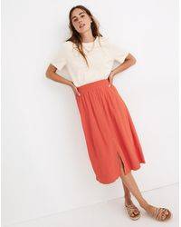 MW Smocked-waist Button-front Midi Skirt - Multicolor
