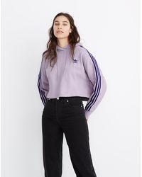 Madewell Adidas® Three-stripes Cropped Hoodie Sweatshirt - Purple