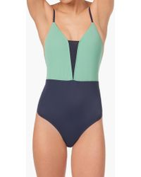 Madewell Lively™ V One-piece Swimsuit In Mint And Navy Colorblock - Blue