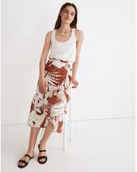 MW Linen-blend Ruffle-wrap Midi Skirt In Tropical Vacation - Multicolor