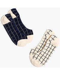 Madewell Two-pack Windowpane Low-profile Socks - Blue