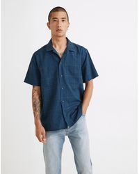 MW Easy Short-sleeve Shirt In Indigo Windowpane Print - Blue