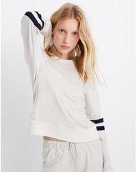 Madewell Splits59™ Mia Stripe-sleeve Crewneck Sweatshirt - White