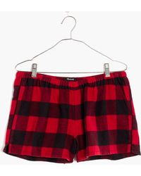 Madewell Flannel Bedtime Pyjama Shorts In Buffalo Check - Red