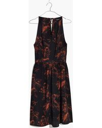 No. 6 Madewell X No.6 Silk Keyhole Dress In Etched Floral - Black