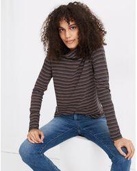 MW Whisper Cotton Turtleneck In Evie Stripe - Black