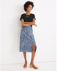MW Linen-blend Knotted Midi Skirt In Paisley Garden - Blue