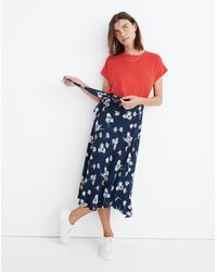 MW Wrap Midi Skirt In Flutter-by Floral - Blue