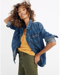 Madewell The Oversized Jean Jacket In Wortham Wash - Blue