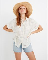 Madewell Courier Shirt In Flecked Rainbow Stripe - White