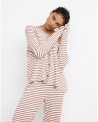 MW Waffle Knit Button-front Pyjama Top In Lorain Stripe - Multicolour