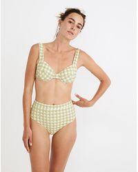 MW Madewell X Solid & Striped® Lilo High-rise Bikini Bottom In Textured Gingham - Yellow
