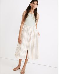 MW Linen-cotton Smocked-waist Button-front Midi Skirt - Natural