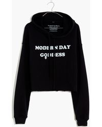 MW Feminist Goods Co. Modern Day Goddess Graphic Cropped Hoodie Sweatshirt - Black