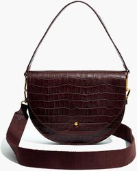 Madewell The Richmond Saddle Bag: Croc Embossed Leather Edition - Brown