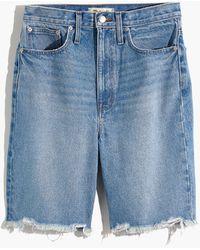 Madewell High-rise Long Denim Shorts In Hedrick Wash - Blue