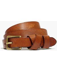 MW Leather Crisscross Skinny Belt - Brown