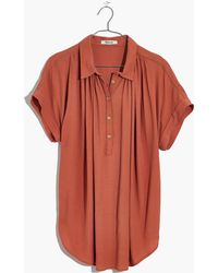 Madewell Central Drapey Popover Shirt - Red