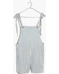 Madewell - Denim Tie-strap Short Overalls - Lyst