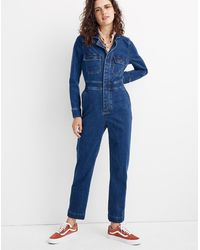 Madewell Denim Slim Coverall Jumpsuit In Stanwick Wash - Blue