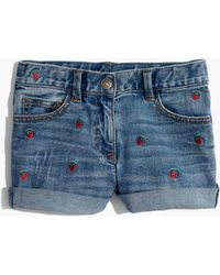Madewell - X Crewcuts Kids' Strawberry Embroidered Jean Shorts - Lyst