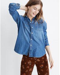 Madewell Denim Oversized Ex-boyfriend Shirt In Hutcherson Wash - Blue