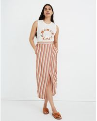 MW Pull-on Wrap Midi Skirt In Stripe - Pink