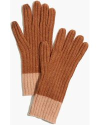 Madewell Colorblock Ribbed Texting Gloves - Brown