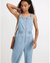 MW Denim Zip Smock-waist Jumpsuit In Baisley Wash - Blue