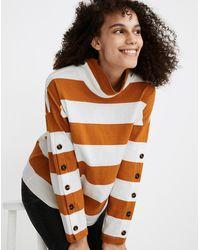 MW Striped Button-sleeve Turtleneck Top - Orange