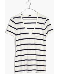 Madewell - Whisper Cotton V-neck Pocket Tee In Creston Stripe - Lyst