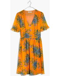 Madewell - Sweetgrass Ruffle-sleeve Dress In Painted Blooms - Lyst