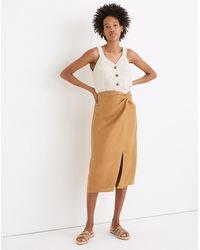 MW Linen-blend Knotted Midi Skirt - Multicolour