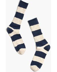 MW Crew Socks In Uneven Stripe - Blue