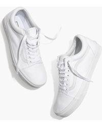 MW Vans® Unisex Old Skool Lace-up Sneakers In Canvas And Suede - White