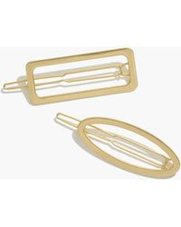 Madewell Two-pack Open Shapes Hair Clips - Metallic