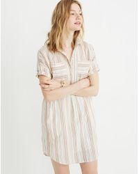 73eff5cd005 Madewell - Popover Courier Shirtdress In Textured Rainbow Stripe - Lyst