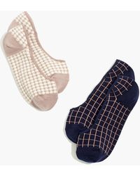 MW Two-pack Houndstooth Windowpane Low-profile Socks - Blue