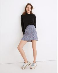 MW Porch Side-button Mini Skirt In Summer Vines - Blue