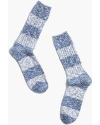 MW Crew Socks In Marled Stripe - Blue