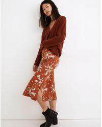 MW Drawstring Midi Slip Skirt In Farmstand Bouquet - Multicolour