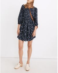 MW Pintuck Puff-sleeve Mini Dress In Cottage Floral - Blue