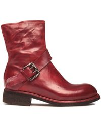 LEMARGO - Rosso Leather Flat Ankle Boot With Buckle - Lyst