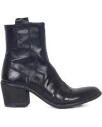 Fauzian Jeunesse - Navy Leather Stitched Almond Toe Ankle Boot - Lyst