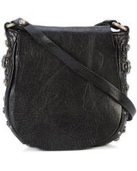 Campomaggi - Black Leather Studded Boho Crossbody Bag - Lyst