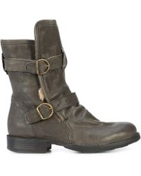 Fiorentini + Baker - Grey Leather And Rabbit Fur Buckle Boots - Lyst